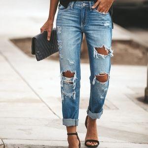 Express 2 girlfriend jeans destroyed crop